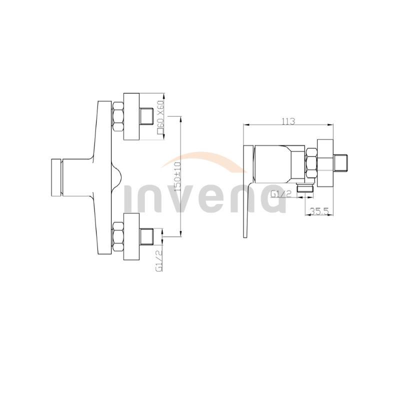 Смеситель для душа Invena MIDNIGHT BN-35-014 черный/золото 2