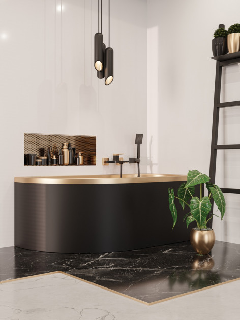 Смеситель для ванны Invena MIDNIGHT BW-35-014 черный/золото 3