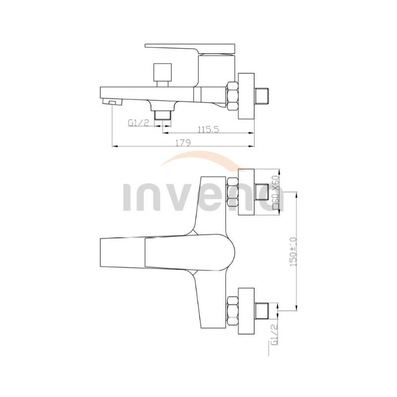 Смеситель для ванны Invena MIDNIGHT BW-35-014 черный/золото 2